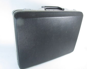 Vintage Briefcase, Attaché Case, Laptop Case, Office Accessories, Retro Briefcase,black,mad men