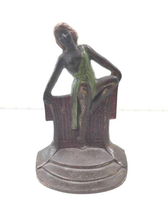 image 0 - Vintage Cast Iron Door Stop Bronze BookendArt Deco Brass Etsy