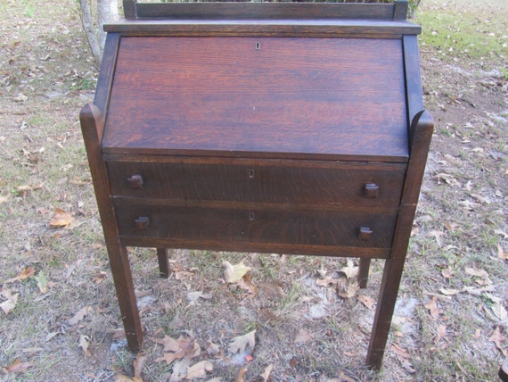 image 0 - Antique Mission Style Secretary Desk And Chair Slant Top Etsy