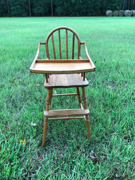 image 0 - Antique High Chair Vintage Highchair Childs Chair Wood Etsy