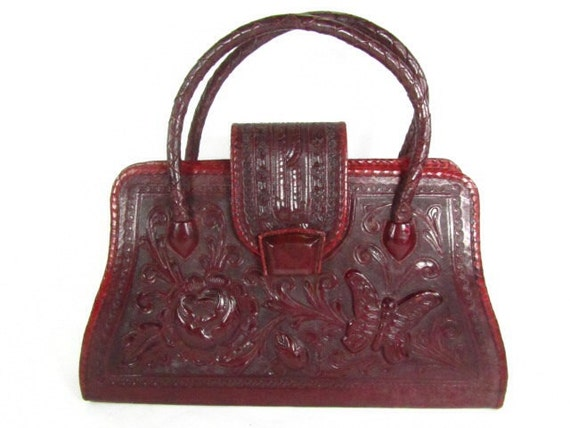 Vintage purse, tooled leather purse, red leather p
