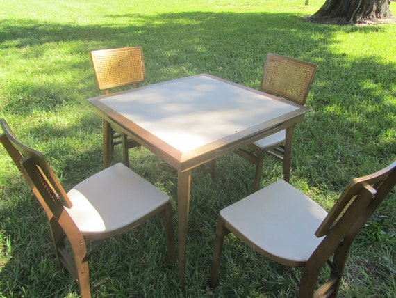 Folding Card Table Folding Chairs Stakmore Furniture Vintage Wood Table 4 Chairs Danish Modern Mid Century Table Game Table