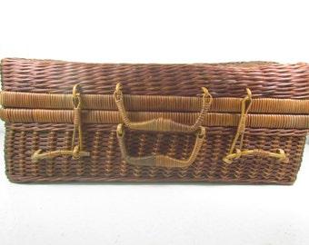 Wicker Suitcase, wicker picnic basket, picnic basket, basket, storage basket, vintage picnic basket, container, storage basket