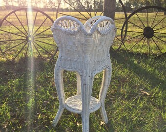 Vintage wicker plant stand outdoor furniture, boho decor, wicker plant stand, ornate wicker, Shabby Chic Furniture