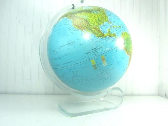 Vintage world globe globe world map lucite stand mid etsy image 0 gumiabroncs Images