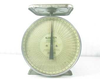 Vintage Postal Scale, Hanson Postal Scale, 50 lb Scale, metal scale, Postage Scale, 1953 Scale, Farmhouse Decor, Weights and Measure