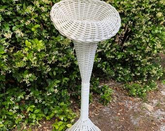 Shabby chic floral basket, Trumpet Wicker Plant Stand, white wicker, wicker stand, Wedding Decor, funeral basket, flower stand