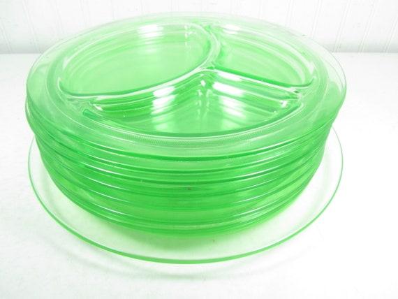 Vaseline Glass Plate Platter Serving Dish Green Divided Etsy