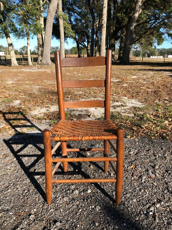 Antique Ladder Back Chair Vintage Chair Cane Seat Woven