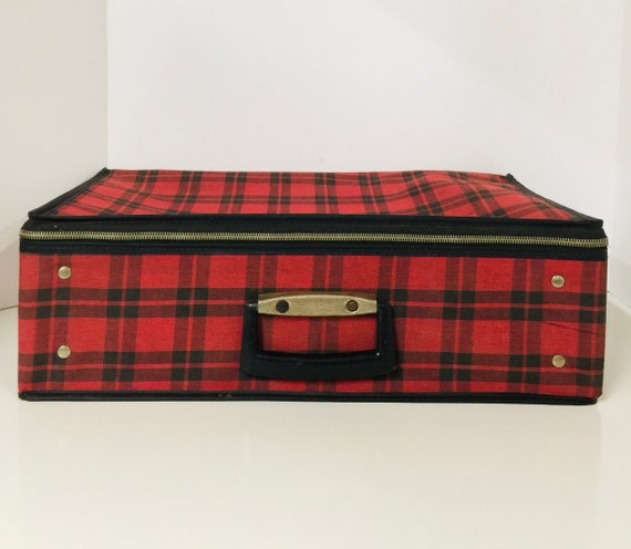 Plaid Suitcase, 1970s suitcase, Red and Black suit