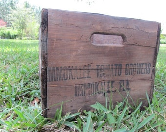 Wood crate, wood box, vintage crate,farm,vintage wood box ,large box,crate, tomatoes, immokalee,