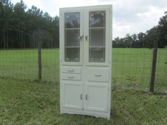 Antique Kitchen Cabinet Hutch China Cabinet Primitve White Wood Cabinet Farmhouse Kitchen Cabinet