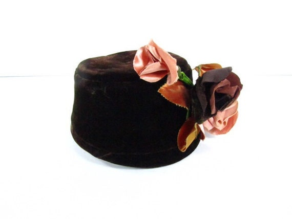 Vintage Pill Box Hat, Brown Hat, Designer Hat, Vin