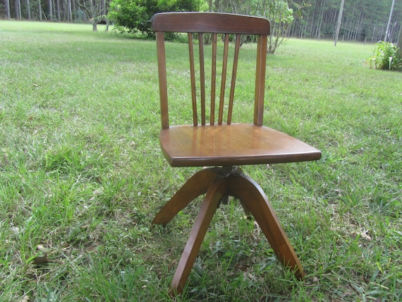 image 0 - Vintage Child's Desk Chair Swivel Seat Wood Chair Etsy