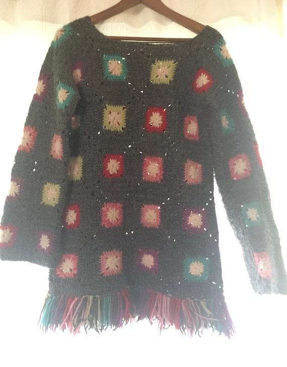 vintage hand crochet sweater, handmade sweater, gr