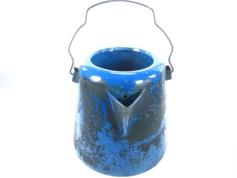 blue enamelware Vintage kettle,tea kettle enamel tea pot,farmhouse decor ENAMEL COFFEE POT