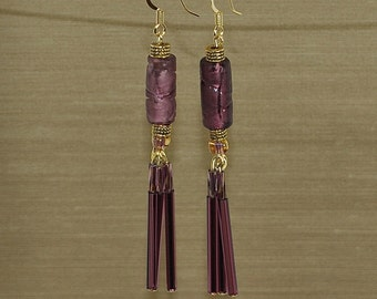 Aubergine Elegance Pressed Glass Earrings