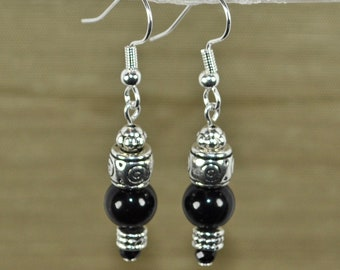 Sophisticate, Black Agate and Silver earrings