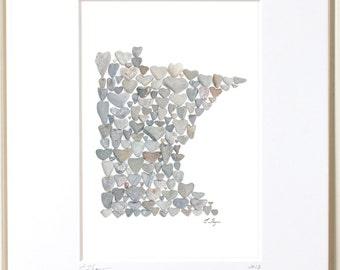 Minnesota print, Minnesota state map, Minnesota wall art, Minnesota decor, Minnesota gifts, Minnesota art, Minnesota anniversary, MN gifts
