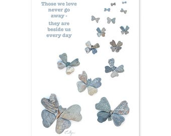 Those we love don't go away card, butterfly sympathy card, condolence card, memorial card, bereavement card, in memory of, love rocks me