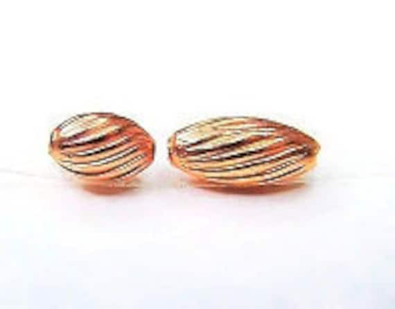 3x7mm Real Copper Beads Oval Swirl Corrugated  3x5mm 4x9mm Approx.100 Beads