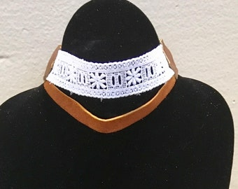 Lace and Leather Choker Necklace | Goddess and Witch Tie Jewelry | Rennaissance Neck Piece