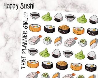 HAPPY SUSHI! - cute decorative sushi stickers! Kawaii style - 51 stickers