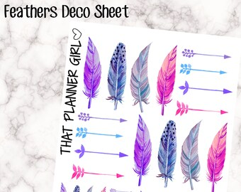 Decorative Feather Stickers - perfect for the Standard EC or Plum Paper Planner - beautiful, fun feathers + arrows