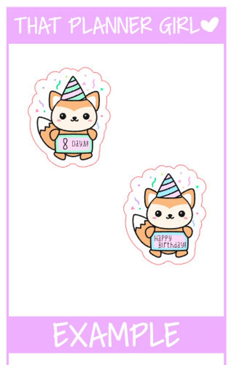 Felix Birthday Countdown Planner Stickers - Perfect for counting down to  birthdays / parties / events etc - Hand Drawn Original Artwork