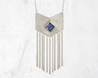 Chain Tassel Necklace | Silver Fringe Necklace | VIXEN Fringe Necklace