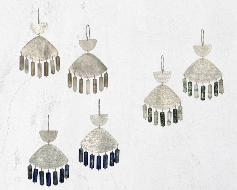SWIFT Chandelier Earrings Minimal Statement Earrings Gemstone Chandelier Earrings