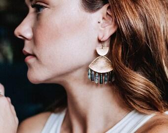 Gemstone Chandelier Earrings | Minimal Statement Earrings | SWIFT Chandelier Earrings