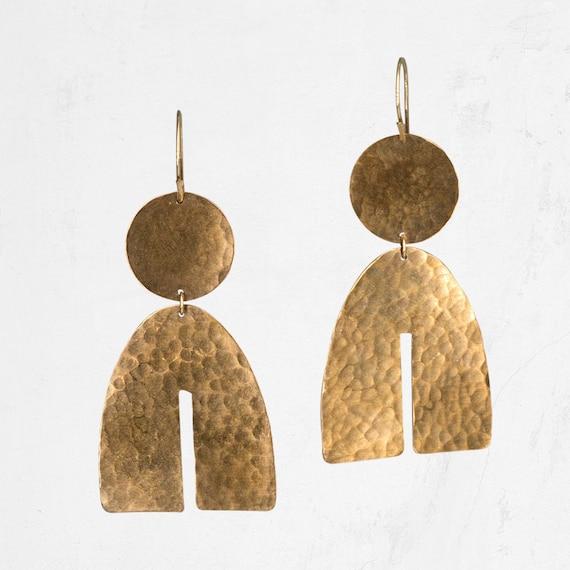 Gold Mini Arch Statement Earrings Geometric Minimalist Studs U Shaped Wishbone Earrings Small Brass Arc Earrings
