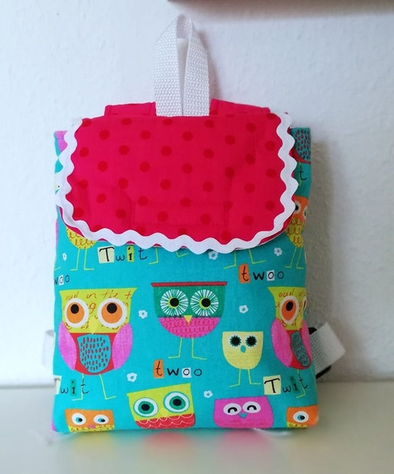 Children s backpack Nursery Bag Owl with name chain   Etsy 599ec5550c