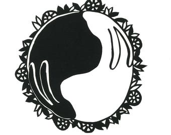 Yin Yang Bunnies Art Print, Greeting Card