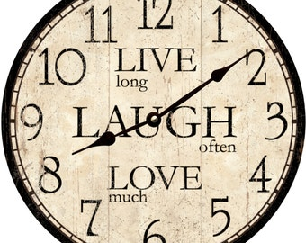 """LOVE/"""" With HOUSE AND WILLOW TREE PRIMITIVE COUNTRY WALL CLOCK /""""LIVE LAUGH"""