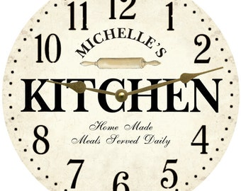 personalized kitchen wall clock white kitchen clock - Kitchen Clock