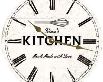 personalized kitchen wall clock white rustic kitchen clock - Kitchen Clock