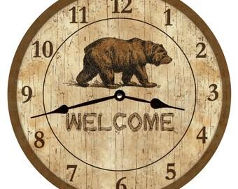 "Bear with Cub Holding a Birch Log Clock 8/"""