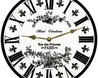 White Toile French Clock- White and Black Toile Clock