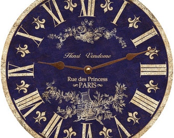 Blue Clock- Blue Toile Clock