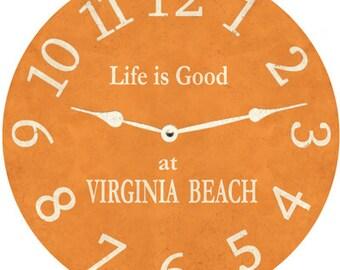 Orange Clock- Pumpkin Orange Personalized Clock