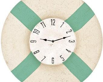 Life Preserver Wall Clock-Nautical Life Preserver Clock Seafoam Green