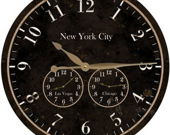 Large Time zone Clock- 3 Time zone Personalized Wall Clock-Oversized