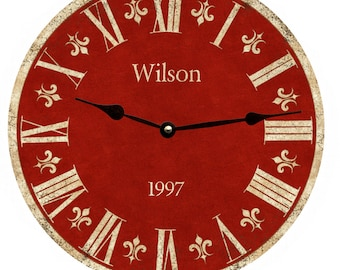 Personalized Red Clock- Personalized Family Clock