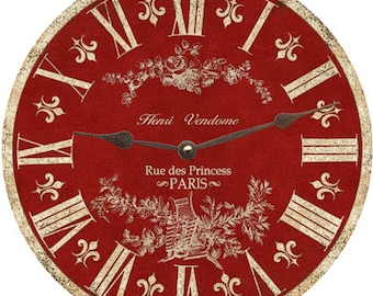 Red Toile Clock- Toile Wall Clock