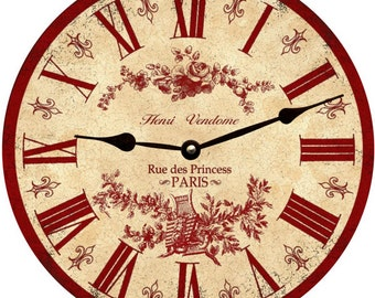 Red French Toile Clock