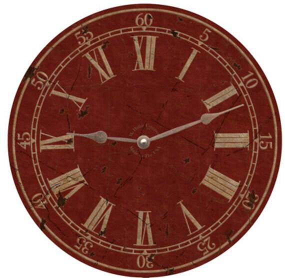 horloge murale rouge etsy. Black Bedroom Furniture Sets. Home Design Ideas