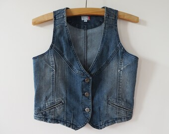 Blue Denim Vest Vintage Denim Vest Fitted Jeans Vest Denim Waistcoat Stretch Denim Vest Metal Buttons Denim Womens Vest Small Size