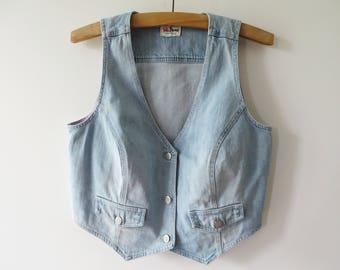 Vintage Light Blue Denim Vest Fitted Jeans Women Waistcoat Western Country Girl Vest Washed out Denim Summer Vest Large Size Vest